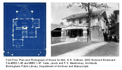 First Floor Plan and Photograph of House for Mrs. H.R. Sullivan, 3202 Norwood Boulevard. File #863.1.45 and #863.1.47. Salie, Jacob and P.S. Mewhinney, Architects. Birmingham Public Library, Department of Archives and Manuscripts.